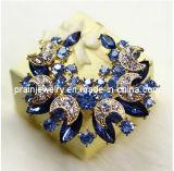 Luna pavimentada Sapphire Brooch Blue Rhinestone Crystal Aleación de zinc Broche Broche Moda Bisutería de moda Brooch joyas (PBr-035)