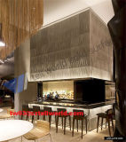 高い光沢のある白い店のカウンターのIluminatedの家具のワインバーのレストランのカウンターデザイン
