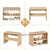 2 niveles de almacenamiento de madera estante para los zapatos y un banco para el almacenamiento de zapatos