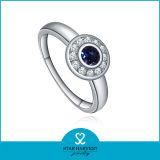 De Alta Calidad de Forma Redonda de Plata Azul Zafiro Joyería (SH-J0015R)
