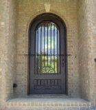 Niza sola puerta de entrada clásica del hierro con el vidrio Tempered
