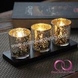 Suporte de vela Votive do copo de vidro Electroplated moderno elegante da vela com base de madeira