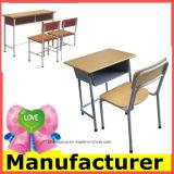 Стол и стул школы двойного места класса оптовой высоты регулируемые