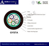 2-144 memorie G652. Cavo ottico della fibra di D GYTA /Gysta, tubo allentato, concentrazione metallica, rivestimento nero del PE per il condotto o antenna