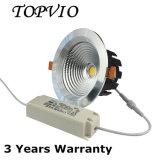 天井を停止する鋳造アルミ20Wの穂軸LED Downlightを埋め込みなさい