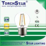 bulbo global do diodo emissor de luz do filamento de 3000k 4200k 6500k 2W