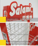 Супермаркет металлической проволоки показ сетки полки питание постоянного корзину напольная стойка