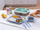 Les gosses plaquent la plaque alimentante divisée de déjeuner de dîner de fibre de blé