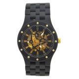 Het Mechanische Automatische Horloge van mensen met Ebbehouten Houten Horlogekast/Rugdekking van het Glas van de Band de Transparante