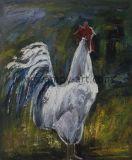 Handmade ferme Chook blanc huile d'art la peinture sur toile pour décoration murale