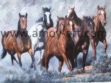 Comercio al por mayor de lienzo hechos a mano arte de pared de la ejecución de caballo para la decoración del hogar