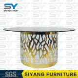 ステンレス鋼の家具の円形の屋外表のガラスダイニングテーブル