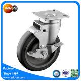 Rad-Schwenker-Platten-Fußrollen PU-5-Inch mit Spitzenverschluss-Bremse