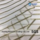 Продажи с возможностью горячей замены с золотым/Silvern Striola линии, 100%полиэстер Organza