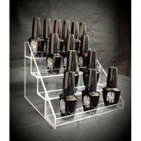 Effacer crémaillère d'étalage acrylique de 4 rangées de vernis à ongles de compteur de présentoir de noir acrylique de vernis à ongles la contre- (les AJUSTEMENTS JUSQU'à 24 BOUTEILLES)