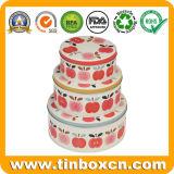 Rectángulo del estaño de la torta del metal de la categoría alimenticia de 3 rectángulos redondos