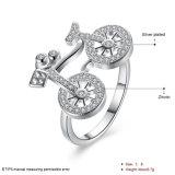 De zilver Geplateerde Fijne Juwelen van de Ring van de Fiets van het Zirkoon