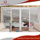 Porta deslizante dobro de alumínio de vidro Tempered com obturadores das cortinas