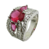 925 Sterling Silver Fashion Jewelry Cubic Zirconia& Creative Ruby Round Shape Men Women Boxing ring (R10951)