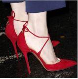 Оптовая торговля указал мелкая полой креста ремни кружева High-Heeled обувь
