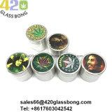 Smerigliatrici in lega di zinco per l'erba del tabacco del fumo 420 con le decalcomanie