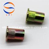 M8 a plaqué la noix ronde moletée principale plate ISO13918 de rivet de corps