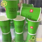 Kraft тиснение чашку кофе 12oz двойные стенки бумаги наружное кольцо подшипника