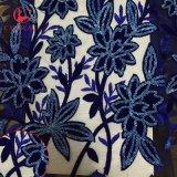 Merletto di Tulle ricamato velluto del fiore di colore rosso con scintillio per il vestito
