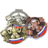 Médaille russe personnalisée de sport de souvenir de l'or 3D d'argent d'en cuivre d'honneur antique en alliage de zinc de fini