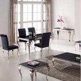 A mobília de jantar francesa moderna jogo preto cinzento da tabela ajustou-se/jantou-se das cadeiras de Louis do cromo aço inoxidável