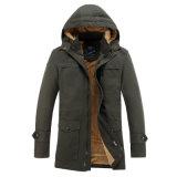 Cappotto resistente su ordinazione popolare del parka degli uomini dell'acqua del cotone della saia con il cappuccio