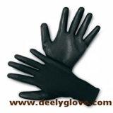 Gants noirs de travail de polyester d'enduit de paume d'unité centrale de Deely