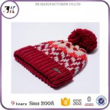 La mujer cálido Pom Pom Beanie Hat Cable Knit puño suave invierno Hat
