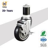 La ampliación de vástago de 3 pulgadas adaptador PU rueda giratoria las ruedas con freno lateral