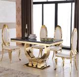 現代家具のステンレス鋼の金大理石のダイニングテーブルの金