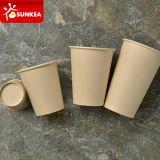 Copo de papel do café de bambu descartável da polpa da fibra
