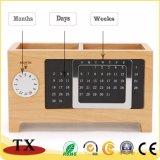 Calendario di scrittorio da tavolino di legno della casella di memoria della cancelleria dell'acero creativo