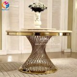 Foshan miroir de mariage en verre de table à manger ronde en acier inoxydable