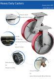 """Hochleistungs6 """" PU-industrielle Stahlfußrollen mit Spitzenverschluss-Bremse"""