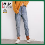 Jeans di modo delle ghette lavati promozione scarna blu delle donne