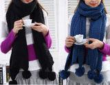 Шарф грелки толщиной POM POM шеи типа женщин множественной связанный зимой (SK126)