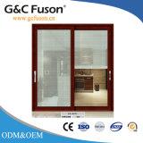 Porte coulissante de couleur en bois en aluminium intérieure avec l'écran d'insecte