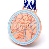 Do esporte de cobre velho antigo feito sob encomenda da concessão da fábrica de China medalha Running da estação de acabamento da raça com colhedores largos da fita