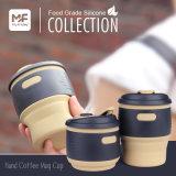 Tazza di caffè personalizzata pieghevole con il manicotto ed il coperchio
