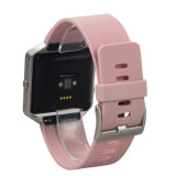 Faixa de relógio de borracha macia colorida do silicone com frame para a chama de Fitbit