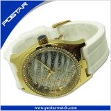 Buen reloj del diamante del reloj de señoras del cuarzo de Japón Movt del diseño con la venda del silicón