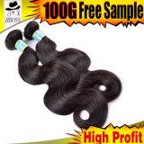 Extensão do cabelo, extensão brasileira do cabelo do Virgin 100%Human