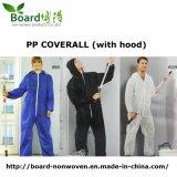 使い捨て可能な非編まれたPPの微小孔のあるつなぎ服の防護衣