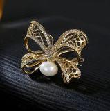 فراشة زخرفة دبوس الزينة [أا] [كز] بيضاء /Gold يصفّى نمو 925 فضة مجوهرات
