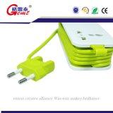 Tira da potência de 2 tomadas com soquete elétrico da extensão de 4 portas do USB o multi